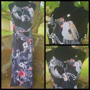 White House black market floral print maxi dress